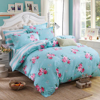 Summer bedding sets 4 pcs cover fashion Bed sets lattice style very soft good quality King Queen Full Twin