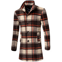 Plaid Single Breasted Longline Trench Coat