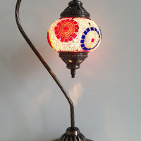 Traditional Turkish Mosaic Lamp with vintage style Swan neck metal base