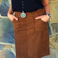 BB Dakota Suede Pocket Skirt