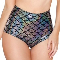 Silver Holographic Mermaid Scale High Waist Booty Shorts