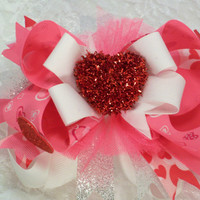 Valentines day toddlers bow infants boutique hair bow girls valentines day hair bow with large red heart center