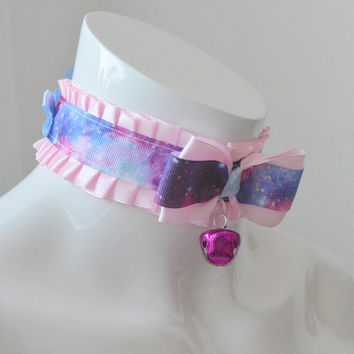 Kitten play collar - Pink galaxies - ddlg little princess choker with bell - kawaii cute fairy kei colorful blue and pink