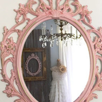 Pink Nursery Mirror Large Oval Ornate Mirror Decorative Baroque Shabby Cottage Chic Frame Bathroom Wall Mirror