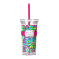 Lilly Pulitzer Acrylic Tumbler with Straw- Lilly's Lagoon