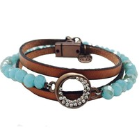 Sweet Lola Leather & Glass Bead Wrap Bracelet