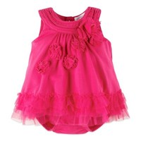 Petit Lem™ Perfume Diva Sleeveless Romper with Ruffles and Flowers in Hot Pink