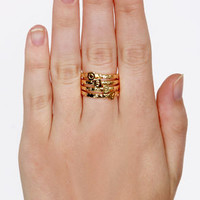 Obey Stack Rings Gold Ring Set