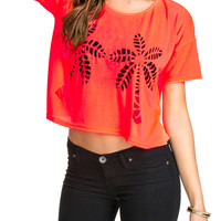 Orange Coconut Tree Cutout Short Sleeve Cropped Top