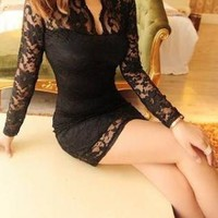 Lace me all over sexy mini dress