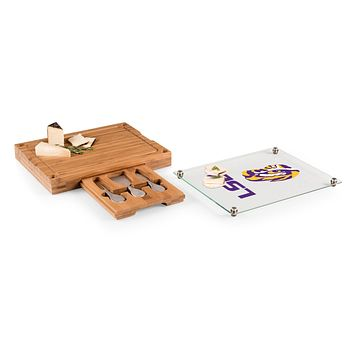 LSU Tigers - Concerto Glass Top Cheese Cutting Board & Tools Set, (Bamboo)