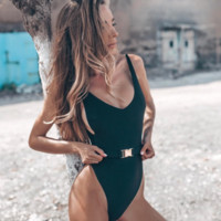 Explosive women's one-piece swimsuit pure color sexy belt buckle one-piece swimsuit