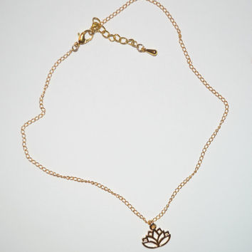 14k Gold Plated Lotus Flower Choker Charm Necklace