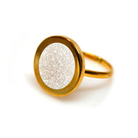 Gold Forever Lux Ring (white druzy inlay)