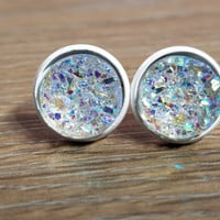 Druzy earrings- Rainbow Clear drusy - white stud druzy earrings