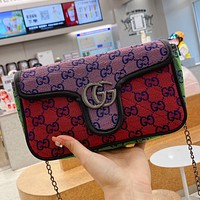 GG Canvas Embroidered Letter Flap Crossbody Bag Chain Crossbody Bag