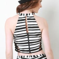 Caged Side Striped Crop Top