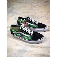 Supreme x Vans Old Skool Luminous Green Dragonfly Pattern Shoes