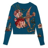 Indie Designs Gucci Inspired Embellished and Embroidered Wool Sweater