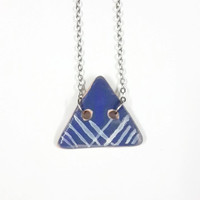 ceramic necklace/ ceramic geometric jewelry/ jewelry for women/ blue necklace