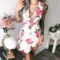 Lily Lace Up Ruffle Dress