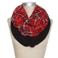 Women's Plaid Two Layer Infinity Scarf - Red