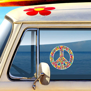 Floral Peace Sign Decal - Colorful Flower Car Decal Peace Symbol Laptop Decal Vinyl Bumper Sticker Hippie Teal Turquoise Pink Green Yellow