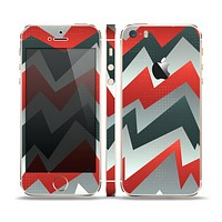 The Abstract Red, Grey and White ZigZag Pattern Skin Set for the Apple iPhone 5s