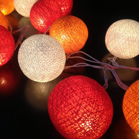 Cotton ball lights for home decor,party decor,wedding patio,20 pieces indoor string lights,bedroom fairy lights,red white orange pink