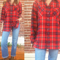 Vintage 1970's Red PLAID Flannel Check Slim Fitting Saucatuck  Western Shirt || Unisex || Mens Small Medium || Ladies Medium Large