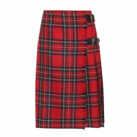 Check wool skirt