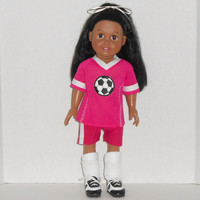 American Girl Doll Clothes Fuchsia and White Soccer Uniform with Shin Guards