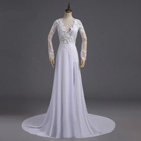 Robe White Long Sleeve A Line Evening Dresses Formal Evening Gowns