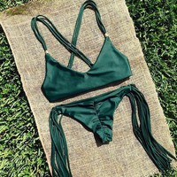 Green Tassel Swimsuit Bikini Set +Free Gift Summer Necklace