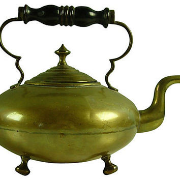 Antique Brass Footed Teapot