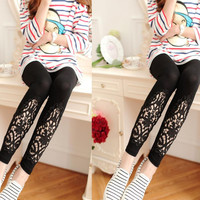 Women Slim Modal Cozy Cotton Knitted Leggings Hollow Out Lace Pants Mid Waist Trousers