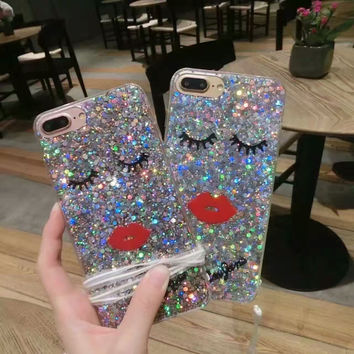 2016 Brand New Sexy Lips eye eyelash phone case For Apple iphone 7 6 6S 4.7 6 6S 7 Plus Glitter powder Back TPU Phone Cover case