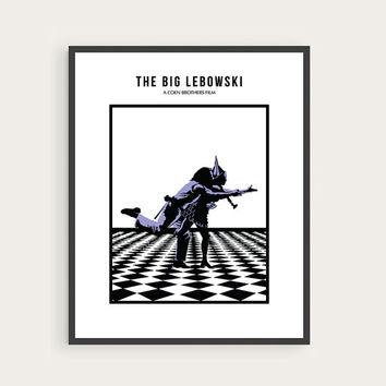 The Big Lebowski, Jeff Bridges, Julianne Moore, Minimal Movie Poster.