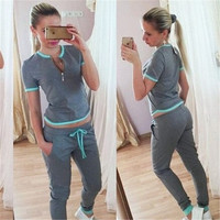 New Fashion Women  Leisure Suit  Sports Suit  Yoga Wear Pink&Grey Corlors = 1932598980