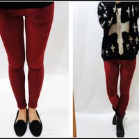 Burgundy Velvet Leggings ON SALE