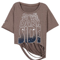 Come to the Dark Side Distressed Crop Top