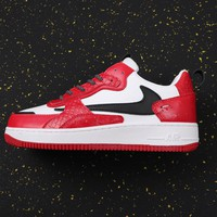 Travis Scott X Nike Air Force 1 Af1 White/ Red/ Black Low Sneakers - Best Online Sale