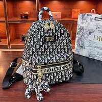 Dior new women's canvas D letter backpack