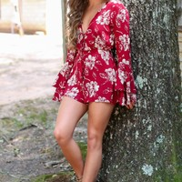 Fringe Time Again Red Floral Print Romper