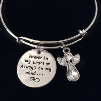 Crystal Guardian Angel Forever in My Heart Always On My Mind Silver Expandable Charm Bracelet Adjustable Wire Bangle Gift
