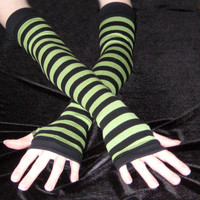 green  and black striped cotton arm warmers stripes stripe goth gothic alternative punk lolita industrial steampunk yoga jogging steampunk