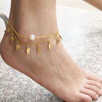 Leaf Stylish Tassels Fashion Strong Character Pearls Chain Summer Anklet = 5892960897
