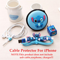 Cute Cartoon Earphone Cable Protector USB Cable Winder Cover Case Shell For Apple IPhone 5 5s 6 6s 7 plus Cable Protect with Box