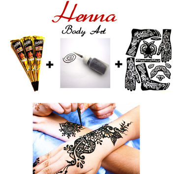 3 pcs Black Henna + Applicator + Full Stencil Mehndi Body Art Set Tattoo Paste Cones Sexy Temporary Tatoo Adult Sex Products