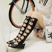 Peep Toe Cross Straps Studded Gladiator Sandals Wedge Heel 7293
